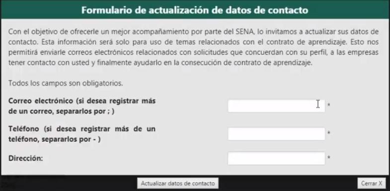 Actualizar los datos de contacto en Caprendizaje Sena