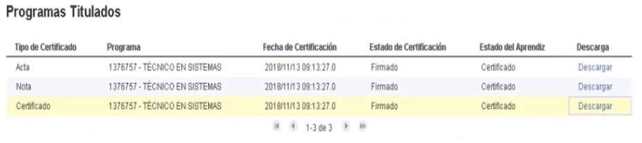 Descargar certificados Sena