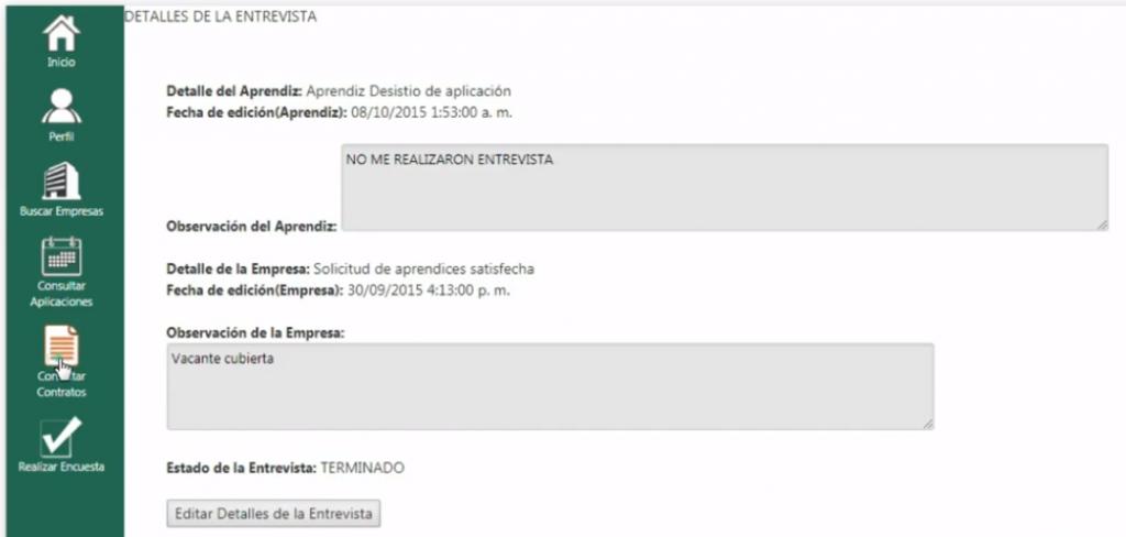 Información de entrevistas empresas Caprendizaje Sena