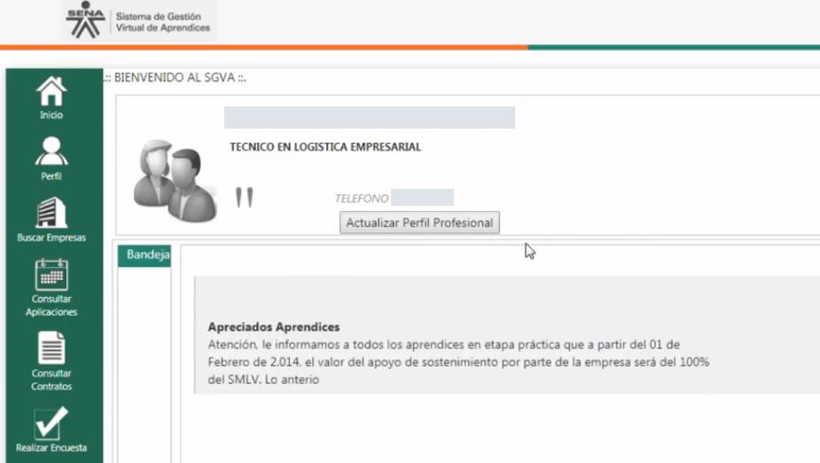Plataforma inicial del caprendizaje Sena