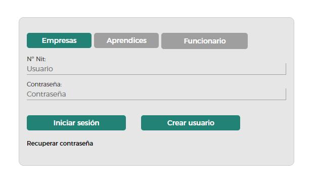 Iniciar sesión o crear usuario en el Caprendizaje